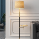 1-Light Pull-Chain Standing Lamp Rural Tapered Fabric Floor Light in Gold-Black with USB Port and Table