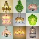 Loft Style Wheel/Cage Pendant Light 1 Bulb Wrought Iron Chandelier with Decorative Plant in Purple/Blackish Green