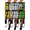 Fashion Womens Dress Plaid Pattern Long Sleeve Crew Neck Short Tight Dress