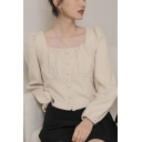 Leisure Women's Shirt Blouse Solid Color Button Fly Pleated Square Neck Long Puff Sleeves Regular Fitted Shirt Blouse