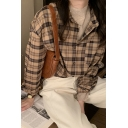 Unique Women's Shirt Blouse Plaid Pattern Button Fly Spread Collar Long Sleeves Regular Fitted Shirt Blouse