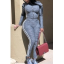 Elegant Women's Co-ords Heathered Stripe Pattern Zip Closure Long Sleeves T-Shirt with High Rise Ankle Length Pants Set