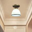 Frost Glass Bronze Ceiling Lamp Bell/Ruffle/Flower Shaped 1 Bulb Traditional Semi Flush Light Fixture