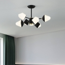 Acrylic Gem Shaped Ceiling Hang Lamp Modern 6/8/10 Lights Chandelier Lighting in Black/White