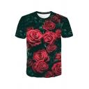 Mens Fancy Tee Top Rose 3D Print Short Sleeve Crew Neck Slim Fit T Shirt