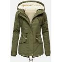 Women's Fashion Plain Long Sleeve Hooded Zipper Button Front Flap Pockets Drawstring Sherpa Fleece Fitted Parka Coat