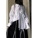 Elegant Women's Shirt Blouse Floral Embellished Button Fly Turn-down Collar Long Sleeves Relaxed Fit Shirt Blouse