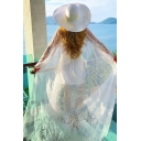 Basic Womens Jacket Embroidered Lace Tie Open Front Long Sleeve Floor Length Regular Fitted Beach Cover up Jacket