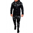 Casual Men's Co-ords Camo Pattern Color Block Contrast Panel Side Pockets Long-sleeved Regular Fitted Hoodie with Long Pants