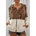 Fashionable Long Sleeve Color Block Leopard Printed Zip Up Hoodie