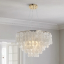 Coastal Layered Circle Pendant Lamp 3/4/6-Light Shell Ceiling Hang Light in Gold, 10.5