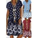 Trendy Womens Swing Dress All over Floral Print V Neck Short-sleeved Relaxed Fit Knee Length Swing Dress