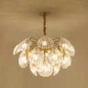 Clear Crystal Scallop Chandelier Coastal 15/20 Lights Living Room Ceiling Pendant in Gold