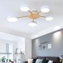 Sputnik Living Room Ceiling Flush Light Wood 5 Lights Nordic LED Semi Flush Mount in Black/Grey/White