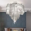 Floral Tassel Chain Flush Mount Modern Aluminum Living Room LED Semi Flush Mount Ceiling Light in Silver/Gold, 23.5