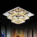 1/2-Tier Flush Mount Ceiling Lamp Modern Clear/Amber Crystal Hallway Square LED Flush Light in Chrome