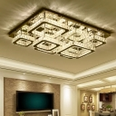 6-Head Living Room Ceiling Flush Mount Modern Clear Flush Light with Layered Crystal Shade