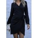Womens Black Long Sleeve Surplice-neck Bow Tied Waist Lace-trim Short Wrap Elegant Dress