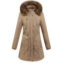 Women's Warm Winter Long Sleeve Hooded Button Down Drawstring Zipper Detail Sherpa Trim Loose Midi Plain Down Coat