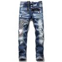 Mens Creative Plaid Pattern Letter Applique Zip Decoration Button Fly Blue Casual Jeans