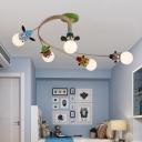 Cartoon Animal Head Semi Flush Mount Metal 3/4/5-Head Kindergarten Ceiling Light with Spiral Design in Coffee