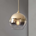 Fading Glass Sphere Pendant Light Novelty Postmodern 1-Light Silver/Gold/Bronze Ceiling Hang Lamp, Small/Medium/Large