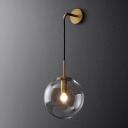 Postmodern Single Wall Hanging Light Gold Ball Small/Large Wall Lamp with Clear/Smoke Grey Glass Shade