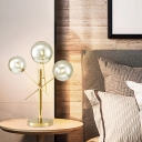 Ball Rotatable Bedside Table Lamp Silver Glass 3 Heads Postmodern Nightstand Light in Gold