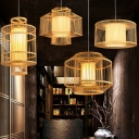 Cylinder/Drum/Hexagon Bamboo Hanging Light Asian 1 Head Wood Ceiling Hanging Lantern over Dining Table