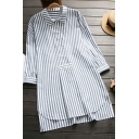 Leisure Women's Shirt Stripe Pattern Button Front Point Collar High-Low Long Sleeves Side Split Tunic Pullover Shirt