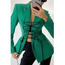 Designer Blazer Long Sleeve Notched Collar Lace Up Front Regular Fit Blazer Top for Women