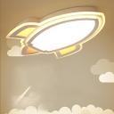 White Rocket LED Flush Ceiling Light Kids Acrylic Small Flushmount Lamp in Warm/White Light