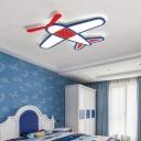 Iron Plane Ceiling Flush Light Cartoon Blue and Red LED Flushmount Lighting in White/3 Color Light