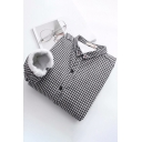 Stylish Ladies Shirt Plaid Printed Sherpa Lined Long Sleeve Turn-down Collar Button Up Relaxed Shirt Top in Black-white
