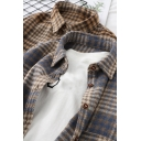 Casual Shirt Plaid Printed Long Sleeve Spread Collar Button Up Loose Fit Shirt Top