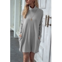 Stylish Dress Solid Color Ribbed Long Sleeve Turtleneck Short Shift Dress for Women