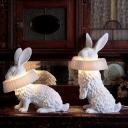 Sitting/Standing Rabbit Table Lamp Art Deco Resin LED White Nightstand Light in Warm/White Light