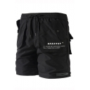 New Fashion Letter Printed Drawstring Waist Two-pocket Styling Casual Beach Athletic Shorts