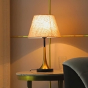1 Bulb Living Room Table Lamp Minimalist Flaxen Small/Large Night Light with Cone/Drum Fabric Shade