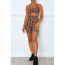 Gym Womens Set Leopard Pattern Criss Cross Back Fitted Crop Cami & Skinny Shorts Set