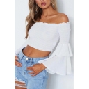 Off The Shoulder Ruffle Tiered Long Sleeve Plain Crop Blouse