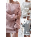 Stylish Womens Dress Knitted Solid Color Long Sleeve Boat Neck Short Sheath Sweater Dress