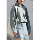 Simple Shirt Solid Color Linen and Cotton Long Sleeve Spread Collar Button Up Relaxed Fit Shirt for Girls