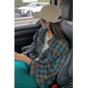 Girls Fashion Shirt Plaid Patterned Long Sleeve Spread Collar Button Up Relaxed Fit Shirt