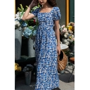 Trendy Womens Dress All Over Flower Print Puff Sleeve Square Neck Maxi A-line Blue Dress