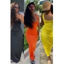 Casual Women's Dress Solid Color Scoop Neck Criss Cross Drawstring Back Sleeveless Maxi Dress