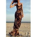 Trendy Women's Maxi Dress All over Floral Pattern Spaghetti Strap Halter Neck Sleeveless Maxi Dress