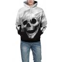 Popular Guys Hoodie Skull 3D Printed Long Sleeve Drawstring Pouch Pocket Relaxed Hoodie