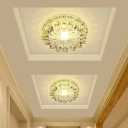 Purple Flower Flush Mount Recessed Lighting Contemporary 5/12w LED Crystal Ceiling Lamp in Warm/White/Blue Light