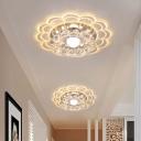Scalloped Aisle Ceiling Mount Light Clear Crystal Modern LED Flush Lamp in Warm/White/Multi-Color Light, 3/5w